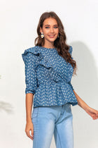 Women's New Cropped Sleeve Ruffled Waist Embroidered Denim Jacket
