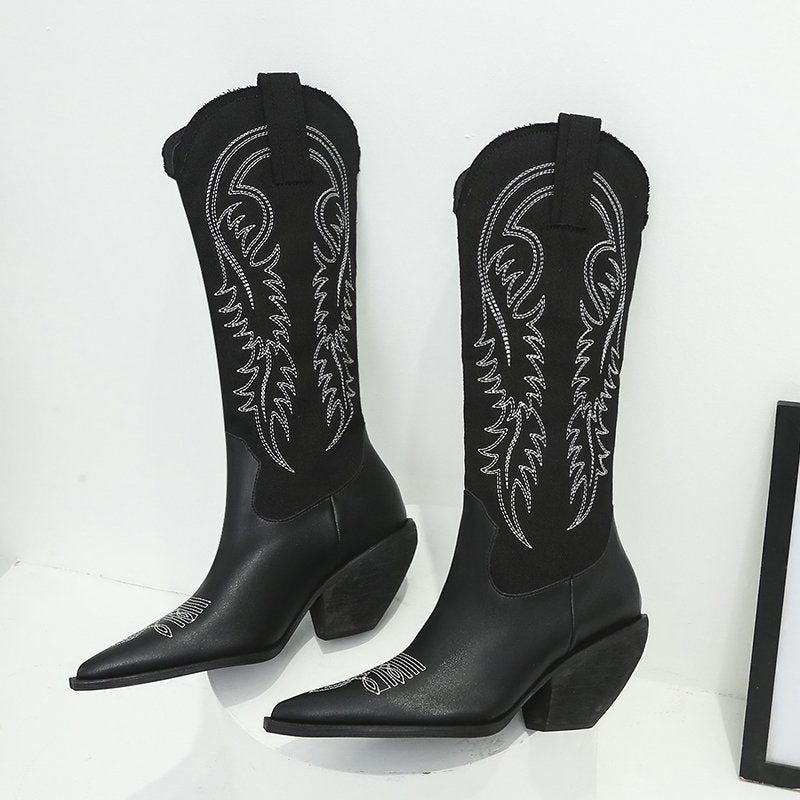 Autumn and Winter New Leather Boots European and American Wind Arrow Embroidered High-barrel Boots.