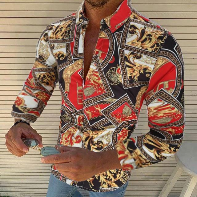 Printed Plus Size Men's Casual Long Sleeve Shirts