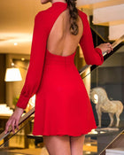Lantern Sleeve Cutout Front Open Back Dress