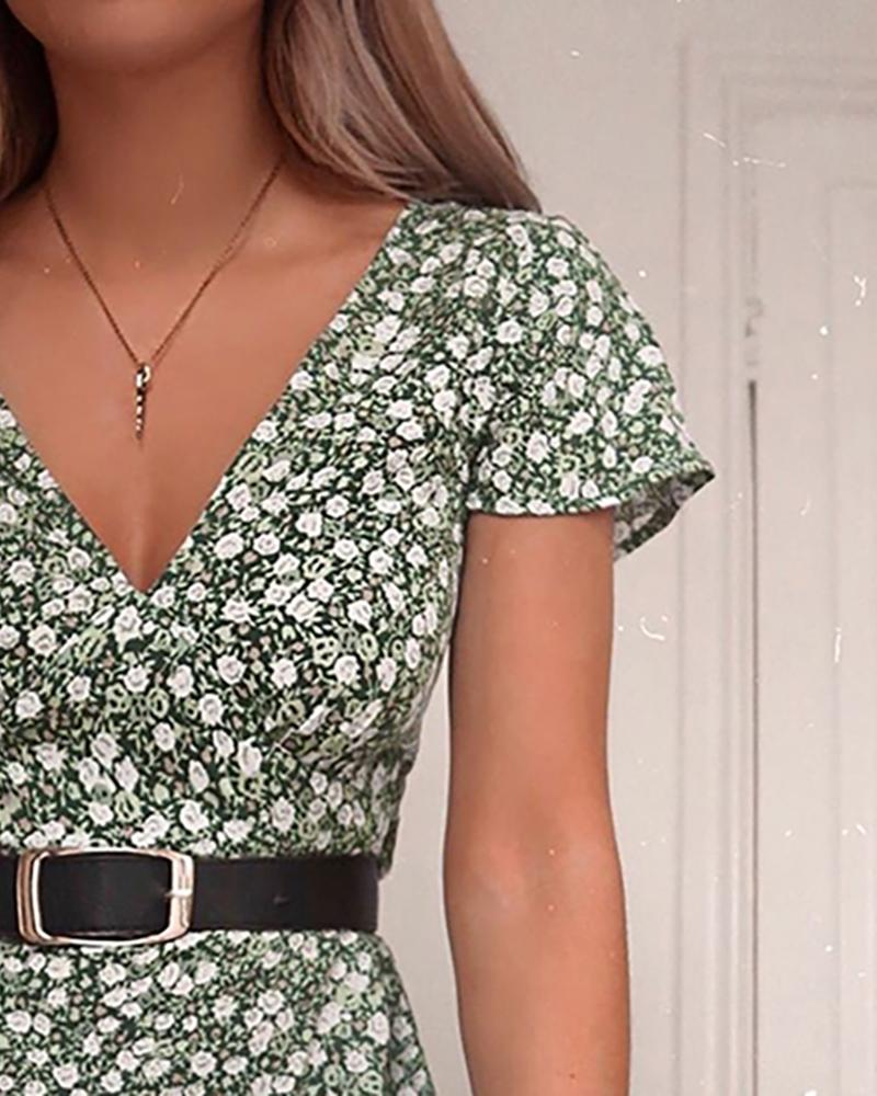 V-Neck Short Sleeve Floral Print Dress