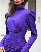 Puffed Sleeve Ruched Design Bodycon Dress
