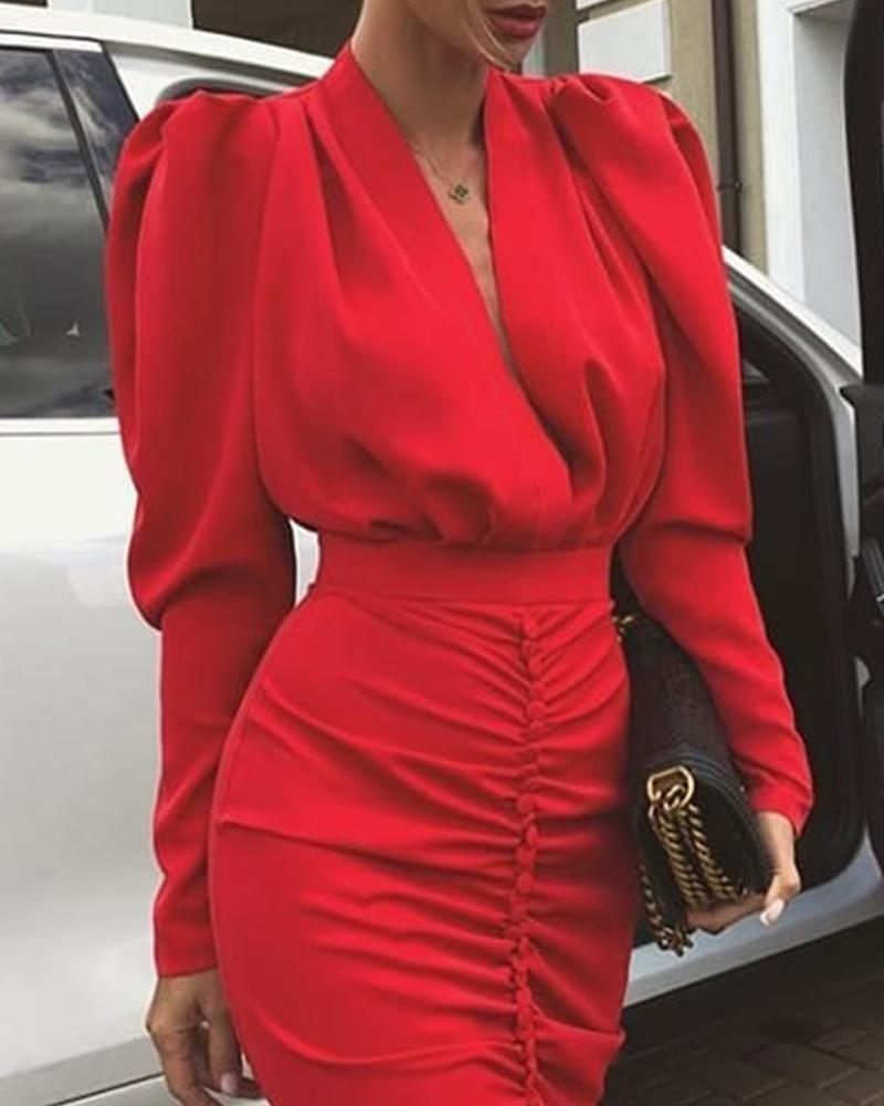 Deep V Bodycon Plunge Dress