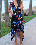 Summer Beach Wear Sexy V-Neck Sleeveless Irregular Long Maxi Dress