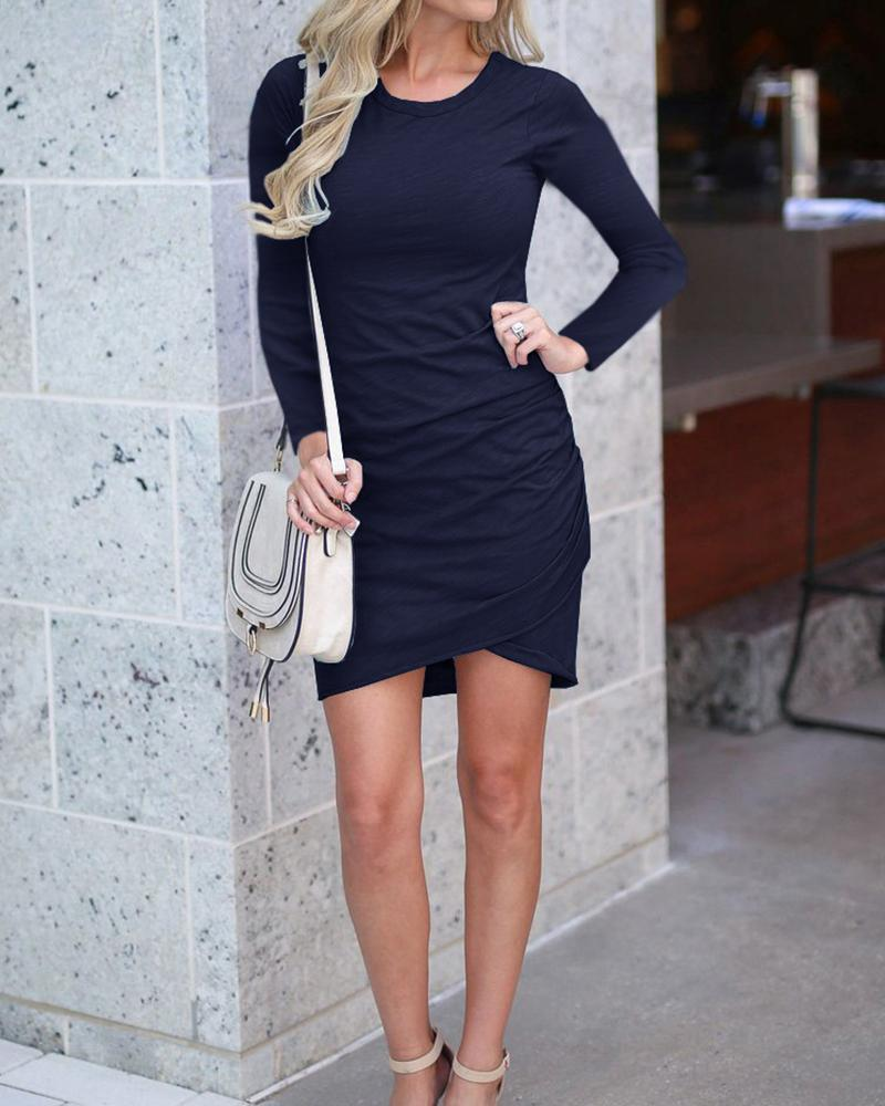 Solid Long Sleeve Bodycon Mini Dress