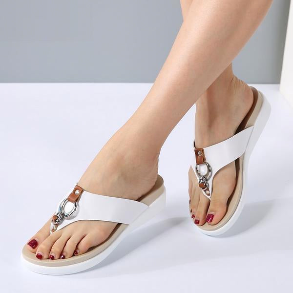 Women Wedge Slip on Leather Platform Sandals Heel Slides Slipper Sandals
