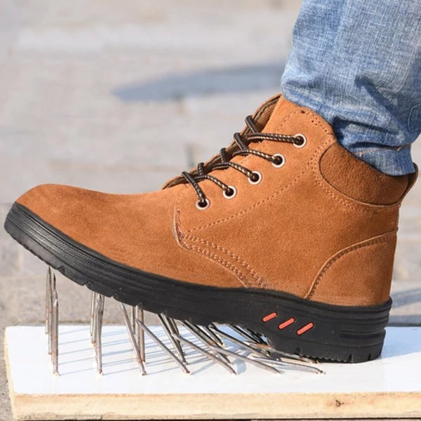 Men Cow Suede Steel Head Anti-smashing Anti-piercing Breathable Men Casual Outdoor Boots Shoes