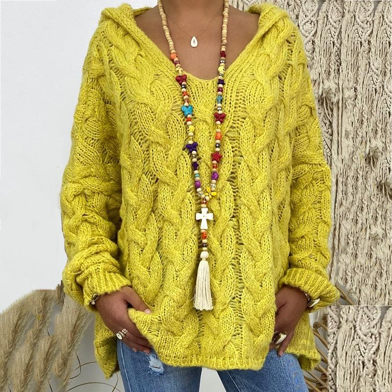 New Solid Color Twist Knitted Hoodie Sweater
