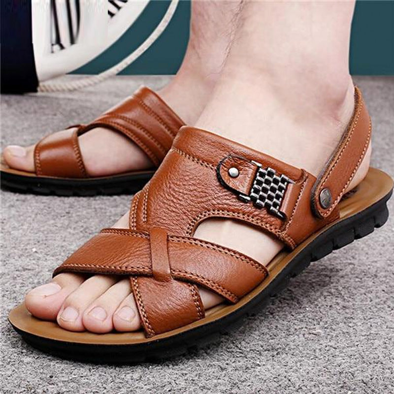 Men's Genuine Leather Casual Non-Slip Sandals Beach Slippers Shoes