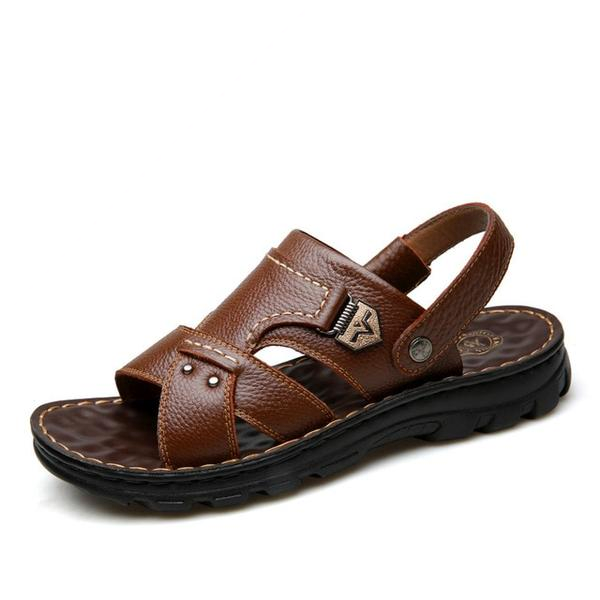 Men's Genuine Leather Sandals Beach Casual Non-Slip Slippers Shoes