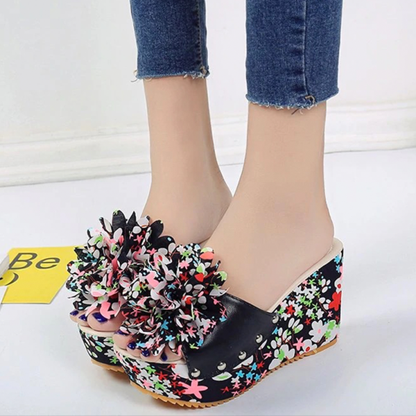 Women Thick Floral Flower Wedge Sandals High Heel Slipper Sandal Shoes