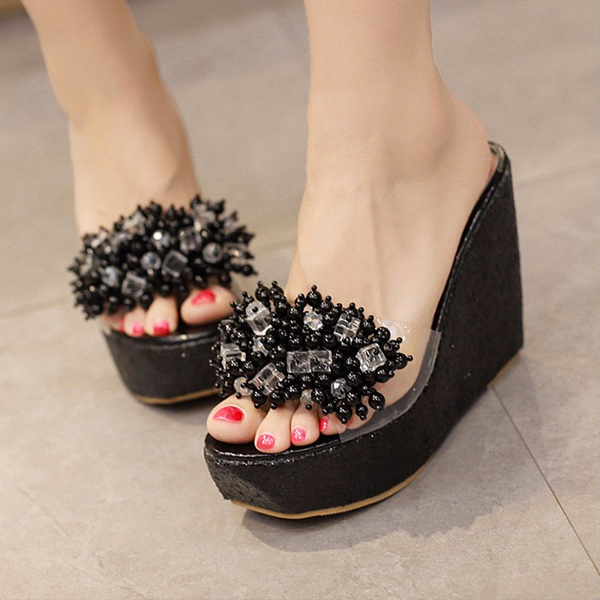 Women Rhinestone Wedges Sandals Trifle Slides Open Toe Platform Sandals Shoes