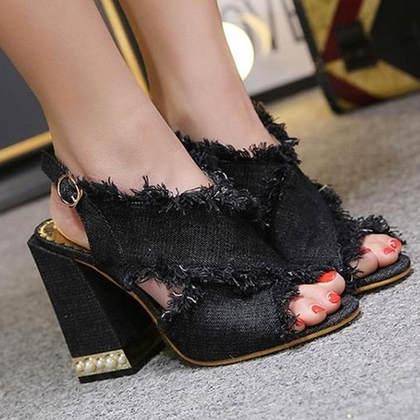 Women Peep Toe Denim Sandals Frayed Tassel Back Strap High Heels Sandals