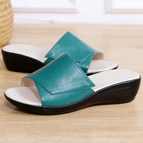 Women Genuine Leather Flip Flops Wedges Platform Sandals Shoes