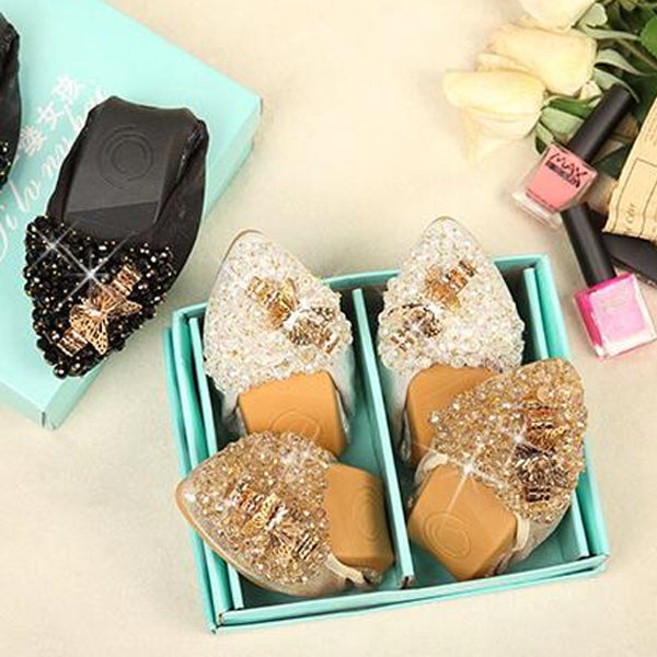 Woman Sequined Flat Shoes Elegant Rhinestone Fashion Foldable Flats