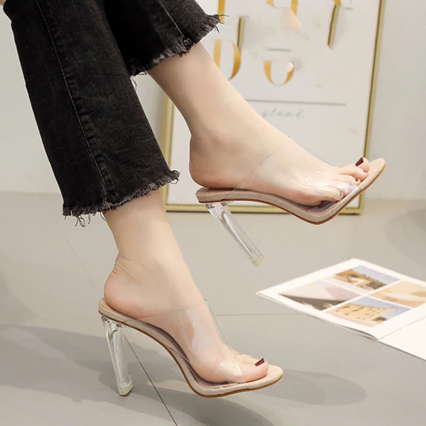 Women Transparent PVC Sandals Open Toe Clear Crystal High Heels Mules Slides