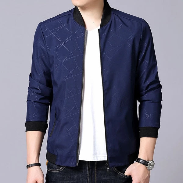 Men Brand Bomber Jacket Business Casual Stand Collar Coats New Zipper Rib sleeve Outerwear