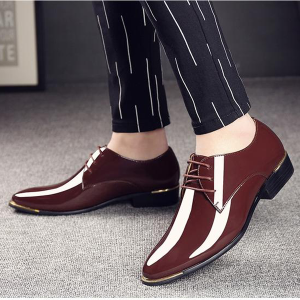 2019 Newly Men's Quality Patent Leather Shoes White Wedding Business Shoes