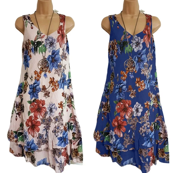 Women Large Size Summer Dress Sleeveless Double Print V-neck Dresses