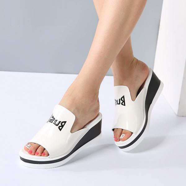 Women Mules Sandals Wedge Platform Patent Leather Slip On High Heels Sandals