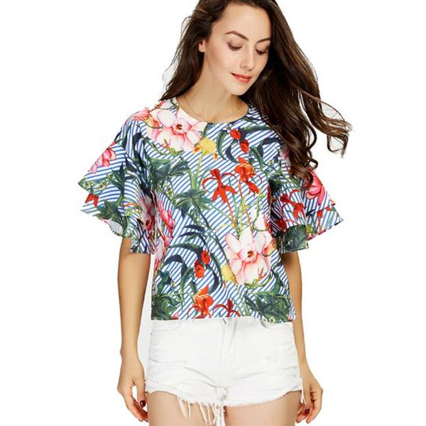 Women Sweet Ruffles Loose Floral Shirts Short Sleeve O Neck Blouse