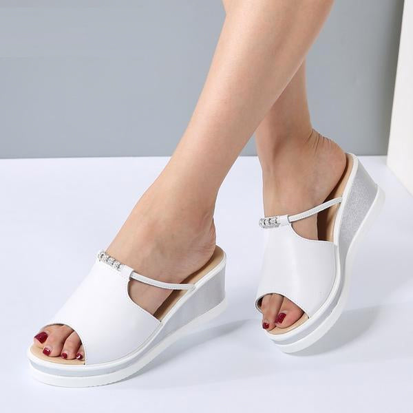 Women Heels Wedges Platform Leather Peep Toe Crystal Elegant Sandals