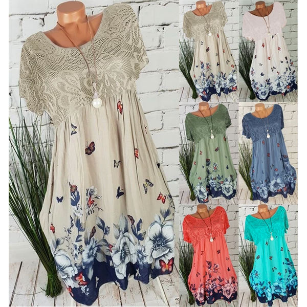 Women's Large Size Lace Dresses Summer New Print Openwork Dresses