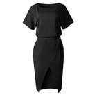 Ladies loose Short Sleeve Round Neck Split Tie Waist Sashes Casual Dress