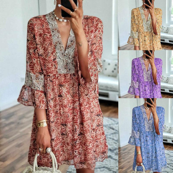 V-neck Print Stitching Loose Cropped Flared Sleeve Dress