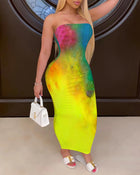 Bandeau Sleeveless Tie Dye Print Dress