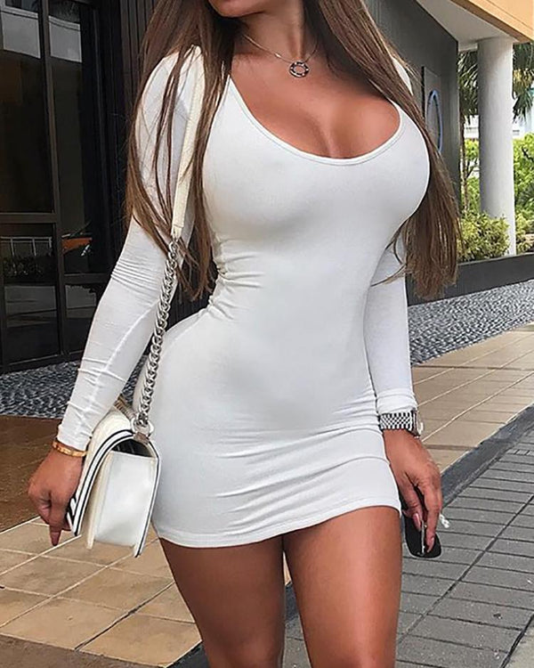 Sexy Solid Long Sleeve Low Cut Dress