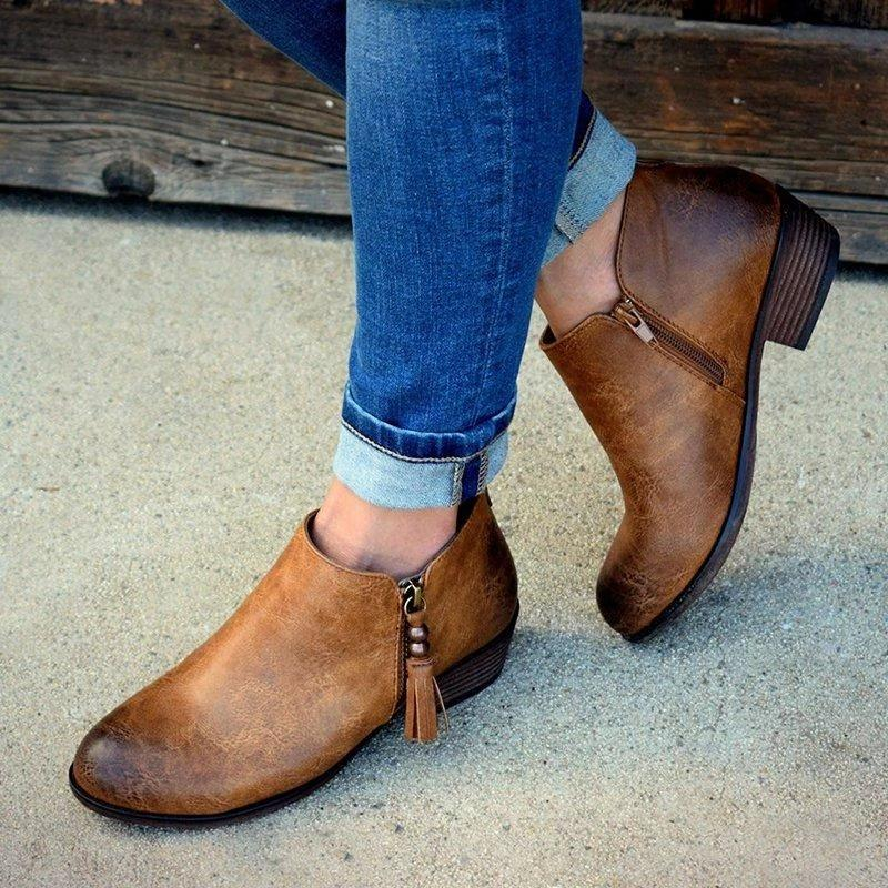 Vintage Tassel Side-Zipped Ankle Booties