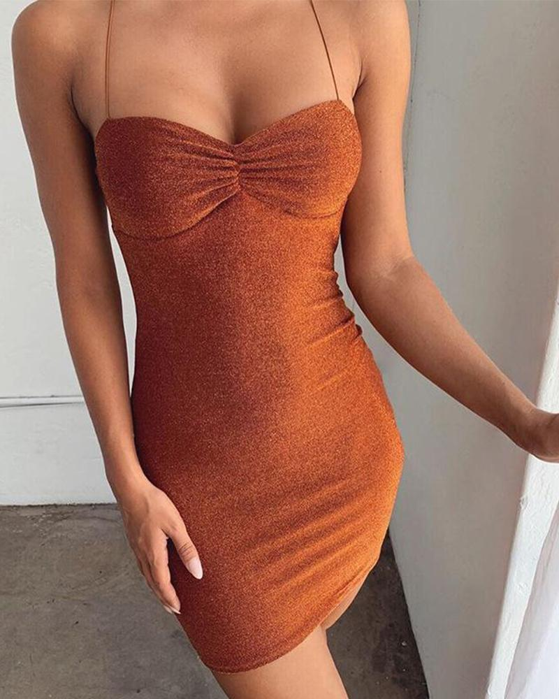 Low Cut Bodycon Tie-Back Dress