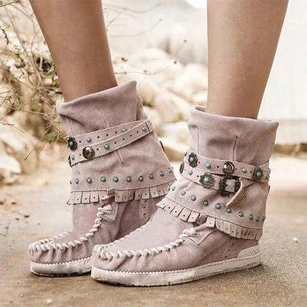 Fashion Belt Buckles Tassel Boots