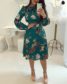 Floral Print Tie Neck Long Sleeve Casual Dress