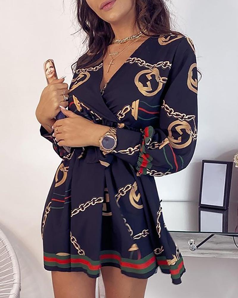 Long Sleeve Baroque Print Dress