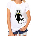 Corachic.com - Women T Shirt Short Sleeve O-neck Casual Funny Black Cat Tops Tees - Tops