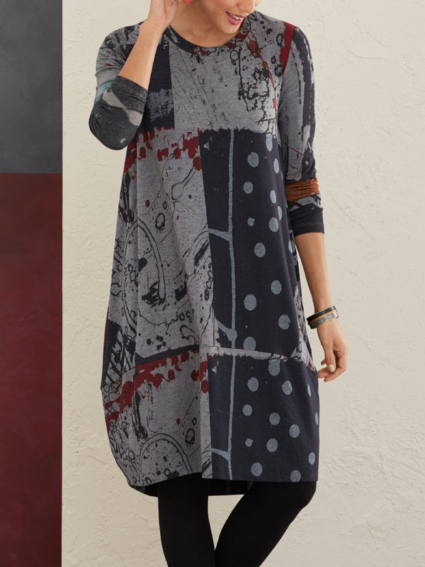 Polka Dots Casual Long Sleeve Fall Dresses