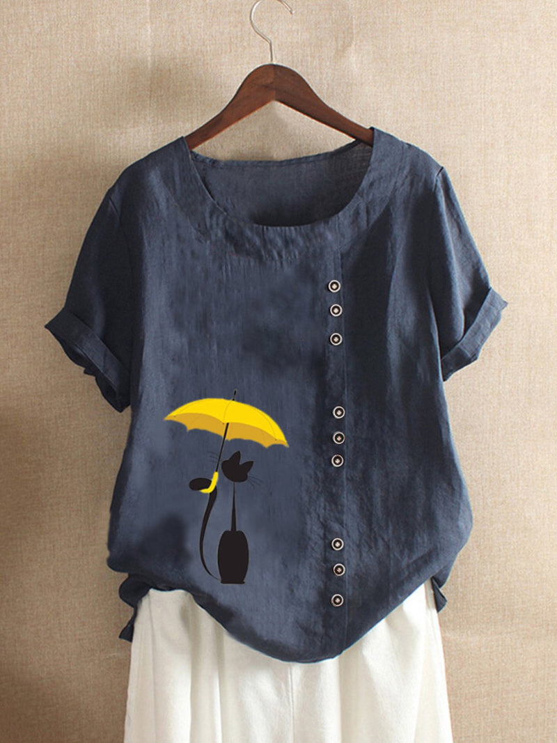 Navy Blue Casual Round Neck Shirts & Tops