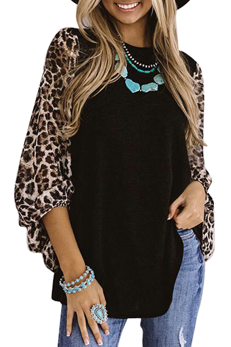 New Leopard Print Long Sleeve Top Women's European and American Round Neck T-shirt for Women