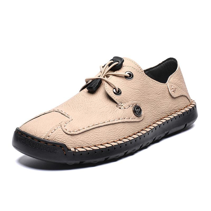Men's Spring / Fall Casual Daily Outdoor Oxfords Walking Shoes Faux Leather Handmade Wear Proof Light Yellow / Black / Beige
