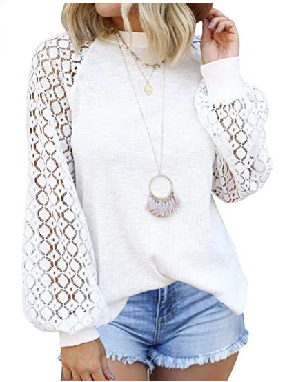 New Round Neck Long Sleeve Lace Patchwork Blouse for Women