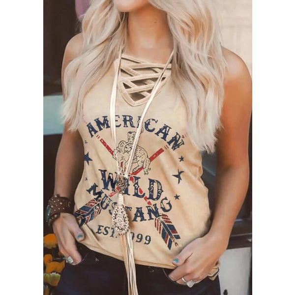 Women Fashion Lace-up Mustang Criss-Cross Tank Vest Summer Top Tee
