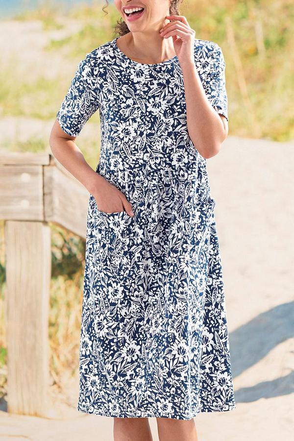 Elegant Floral Print Paneled Side Pockets Midi Dress