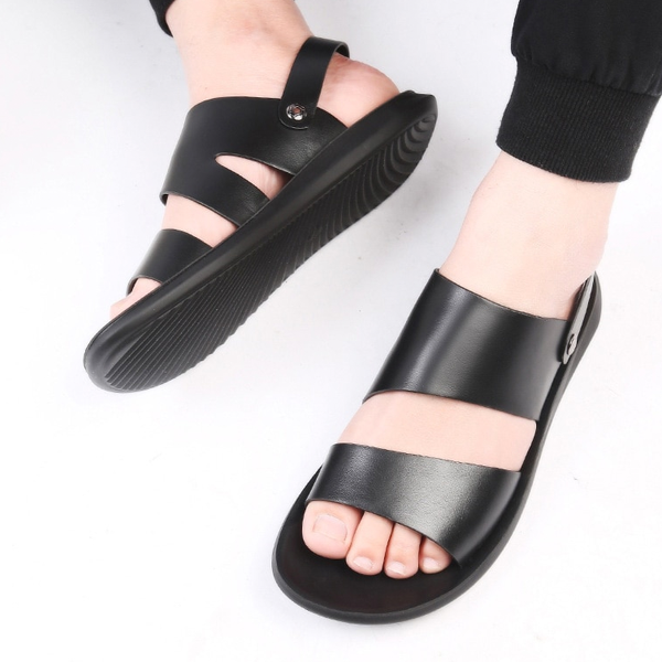 Men's PU Leather Roman Open-toed Sandals Beach Slipper Flip Flop Sandal Shoes
