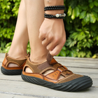 Men's Summer Leather + Mesh Sandals Breathable Beach Sandals Shoes