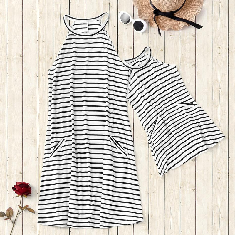 Mommy and Me Stripes White casual H Matching Dresses