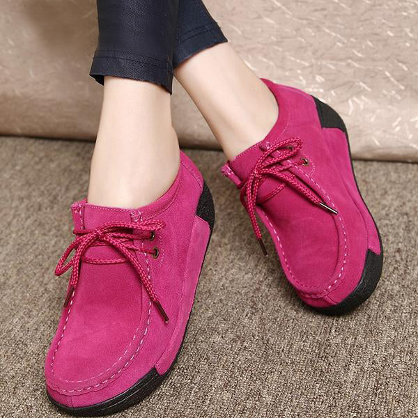 Women Flats Platform Loafers Creepers Lace Up Driving Moccasins Casual Shoes