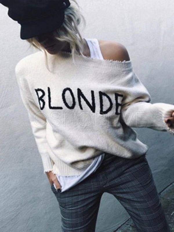 Hipster Letter Embroidered Crewneck Sweater