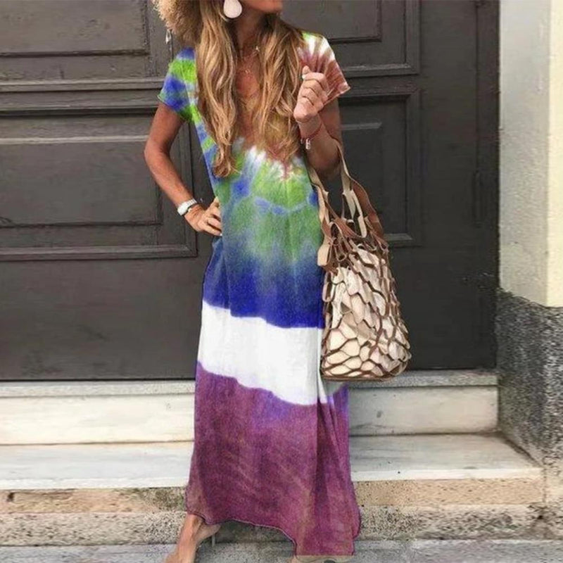 Fashion V-Neck Short Sleeve Tie Dye Loose Vacation Dress